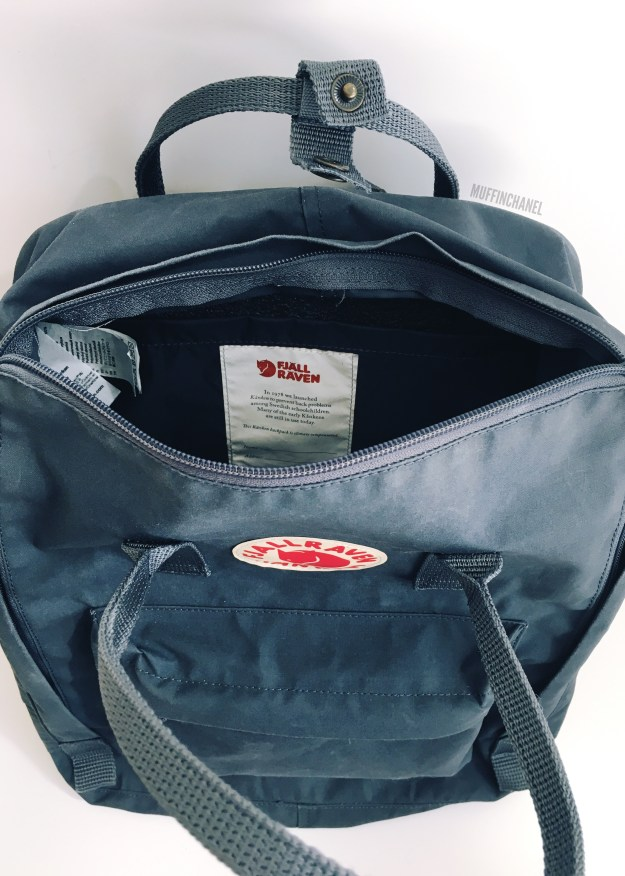 fjallraven kanken backpack review how big what's in my bag muffinchanel zipper opening main compartment
