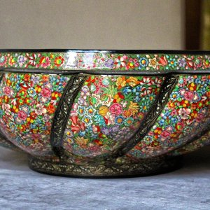 Handmade serving bowl / Kitchen decor / Decorative bowls / Kashmir paper mache bowl/ Brass lined bowl / Handmade bowl