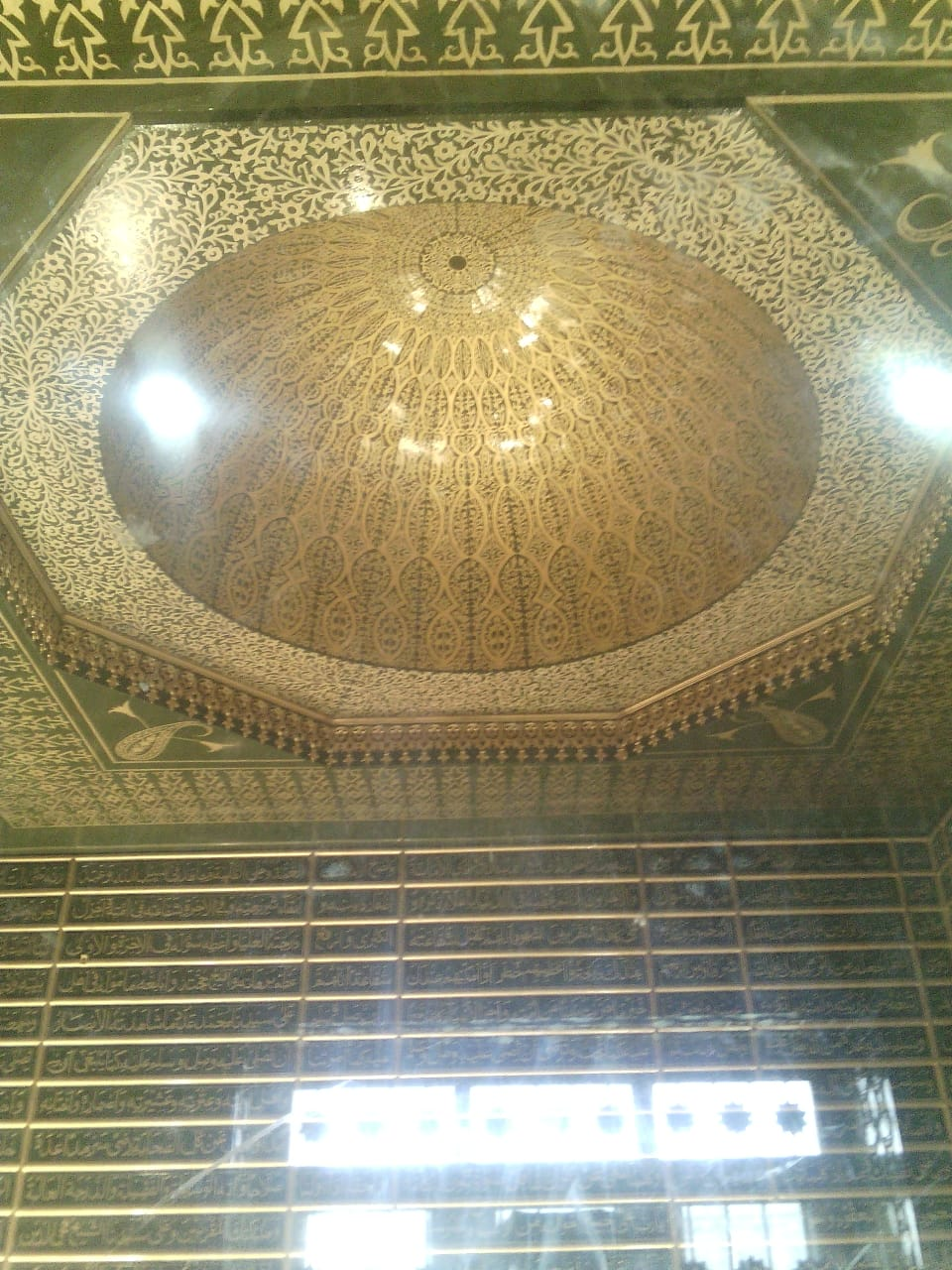 ceiling-golden-art, real gold color, mughal style