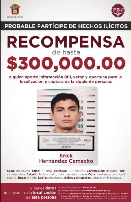 Recompensa por Erick Hernández Camacho/ Fotografía: FGJ