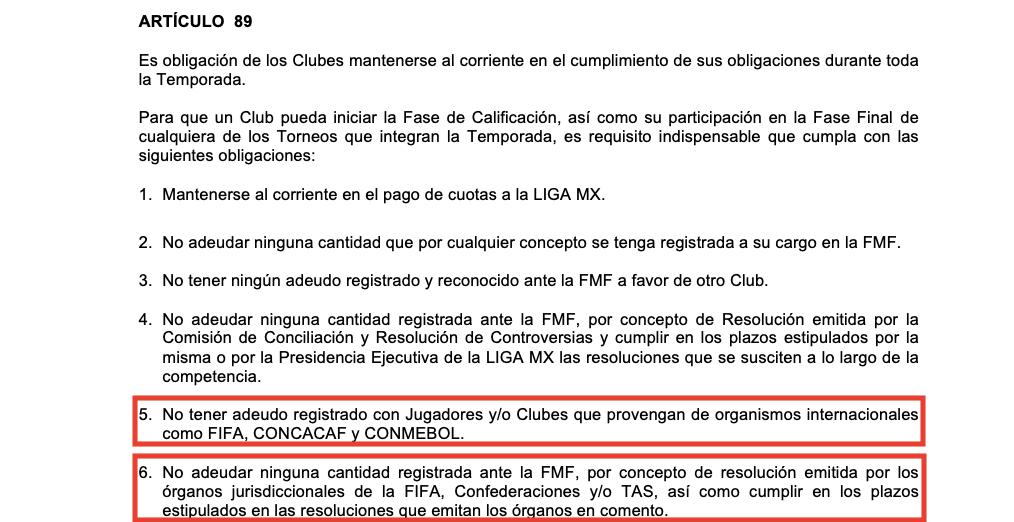 Fotografía: Reglamento General de Competencia Liga MX 2018-2019