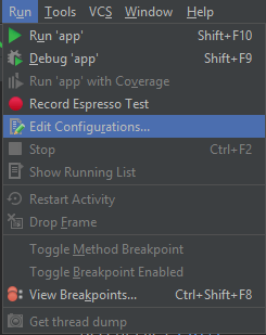 edit configuration android studio