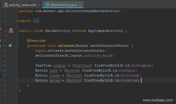 findviewbyid textview dan button di android studio