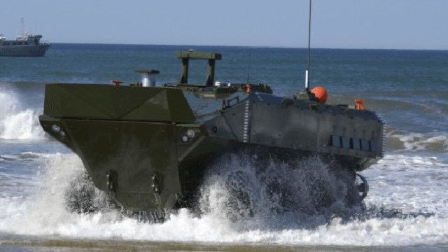 A 34-ton armoured fighting vehicle that swims is among some of the latest military innovations this year.