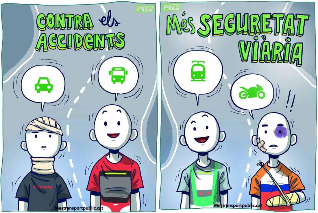 el transporte publico nos da mas motos, accidente en moto, publicidad motos, ayuntamiento de barcelona, anesdor