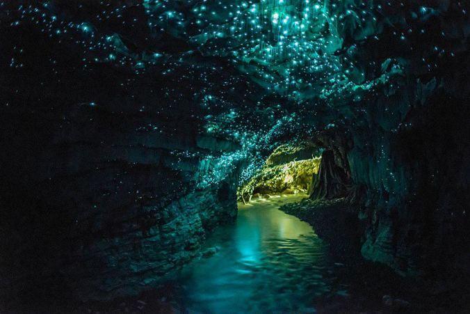 Las luciérnagas hacen brillar el interior de la cueva