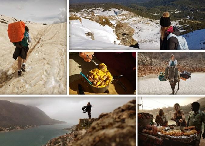 Paisajes impresionantes. De arriba a abajo, de izquierda a derecha: Mestia(Georgia), Kotor(Montenegro), Rila Seven Lakes(Bulgaria), comida Gourmet: Polenta y salchichas, burrostop en Mount Nemrut(Turquía), Rishikesh(India).