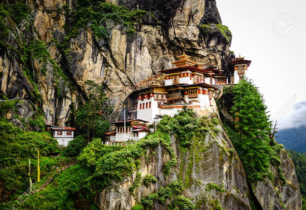 Paro Taktsang (Tiger Nest) on mountain in Upper Paro Valley, Bhutan. Taktsang Lhakhang is Bhutan most iconic landmark and religious site.