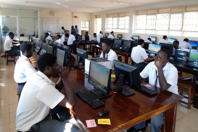 2012 Jinja College Candidates of UCE Computer Studies ready to start the practical paper 840/2 in the computer lab.