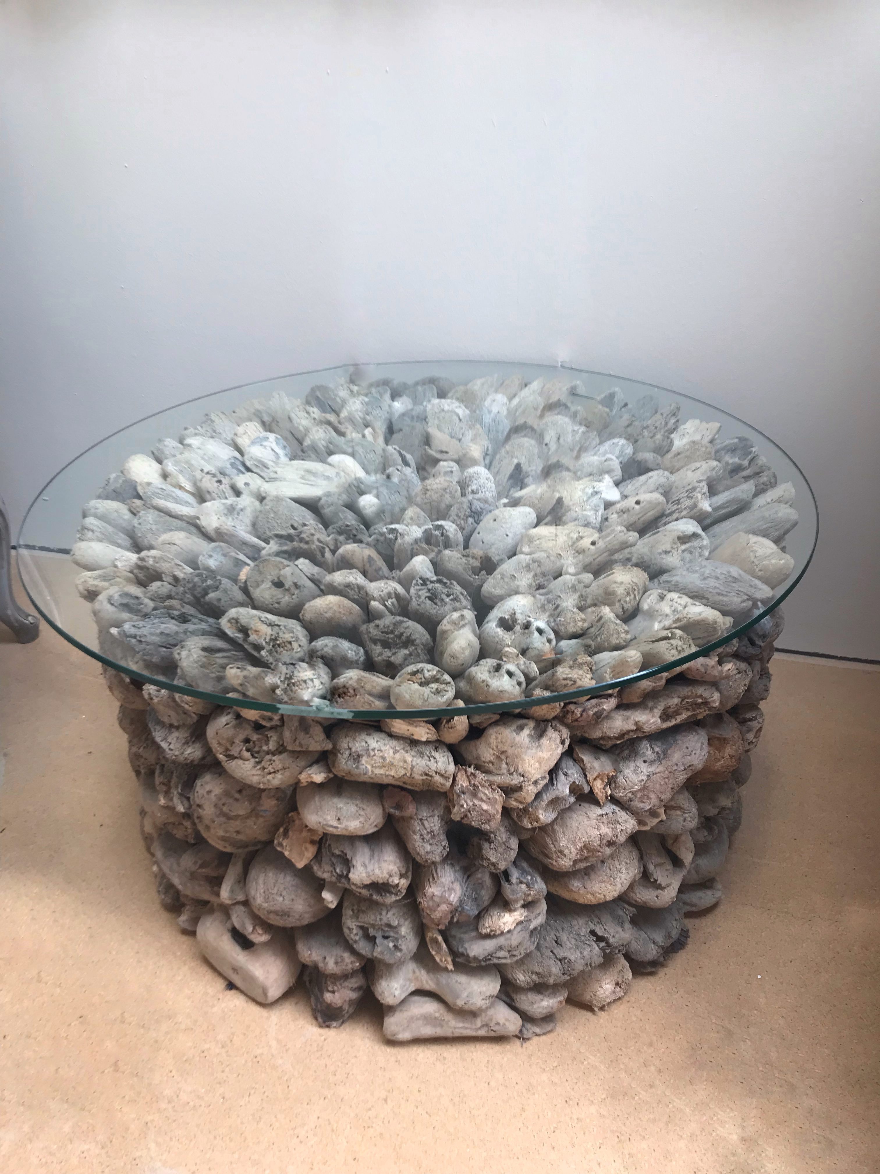 details about large round driftwood coffee table glass top nautical wooden beach furniture