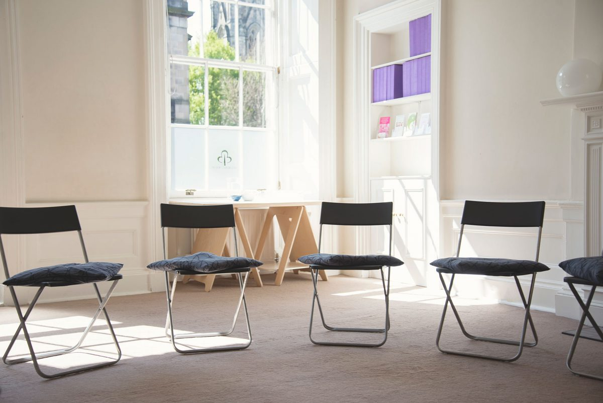chairs set up in one of our rooms for workshops
