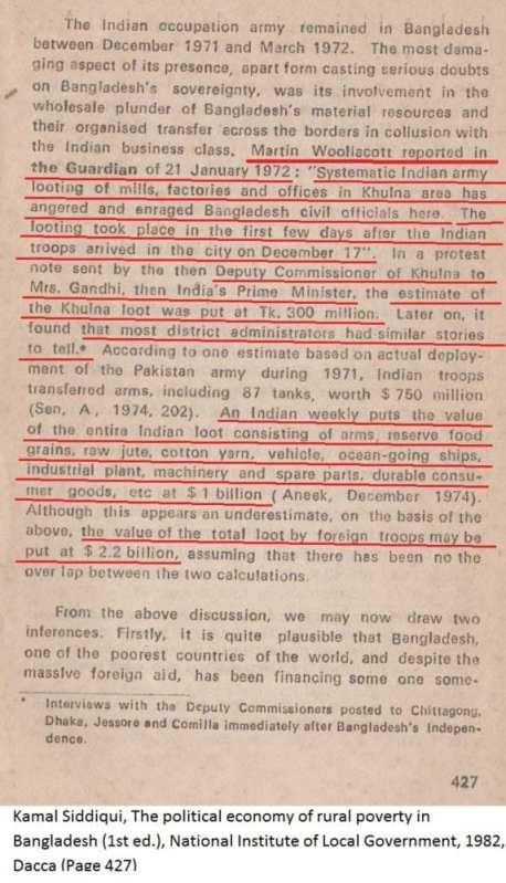 স্বাধীনতার পর ভারতীয় সৈন্যদের লুটপাট