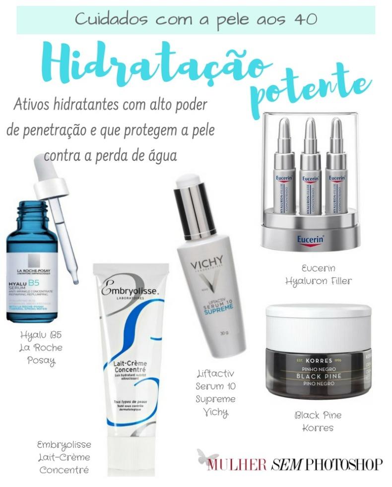 Cuidados com a pele aos 40 anos - hidratação potente