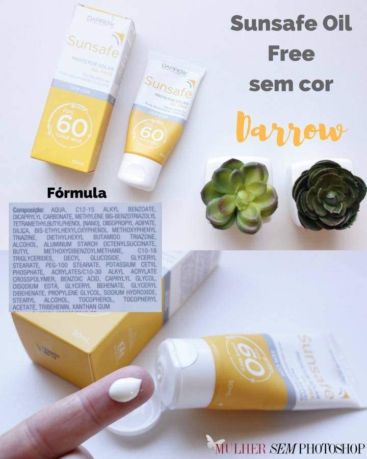 Sunsafe Protetor Solar Oil Free sem cor Darrow - resenha
