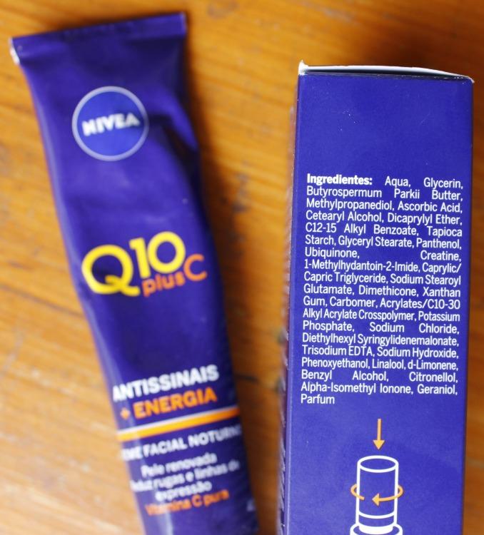 Nivea Q10 Plus C resenha - composição