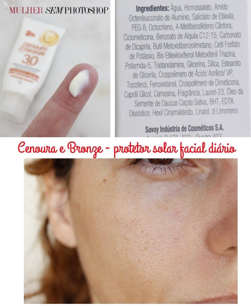 Cenoura e Bronze Protetor solar facial diário resenha