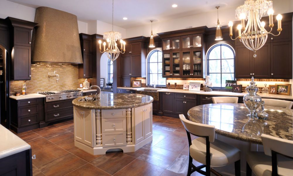 I was going to respond by explaining myself in greater detail but i have covered this before. Mullet Cabinet — Elegant Kitchen with Dual Round Islands