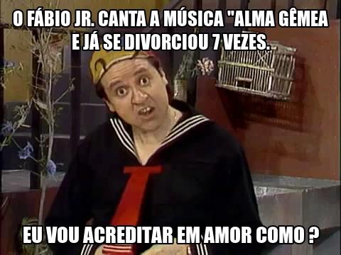 """O Fábio JR. canta a música """"Alma Gêmea"""" e já se divorciou 7 vezes. Eu vou acreditar em amor como?"""