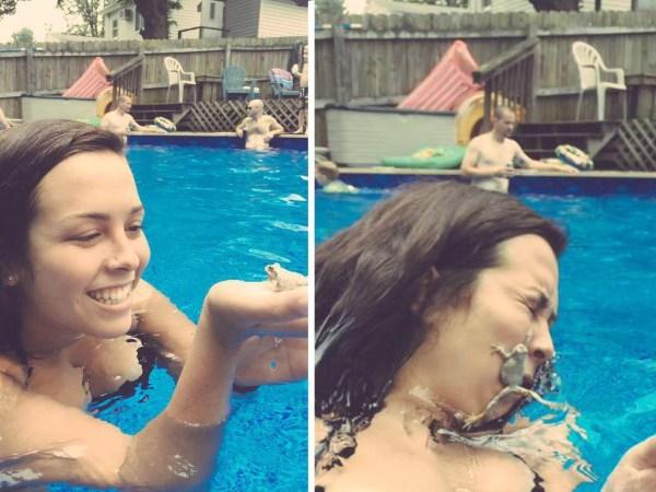 Sapinho / Rã na piscina
