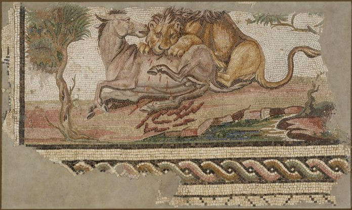 Floor Mosaic with a Lion Attacking an Onager; Unknown; Tunisia; late 2nd century; Stone and glass tesserae; 85.7 × 146.8 × 7.6 cm (33 3/4 × 57 13/16 × 3 in.); 73.AH.75