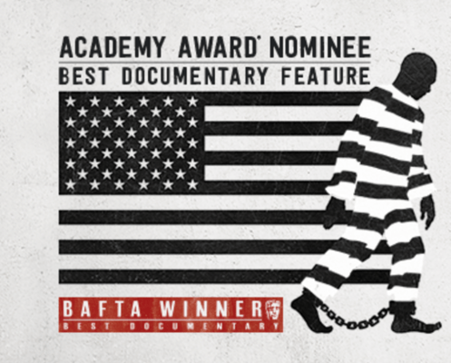 "Banner for Academy Award Nominated movie ""13th"""