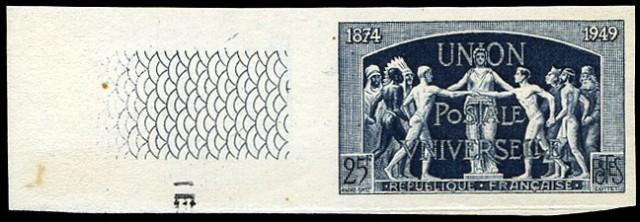Timbre non dentelé de France émis pour le 75e anniversaire de l'Union Postale Universelle en 1949.