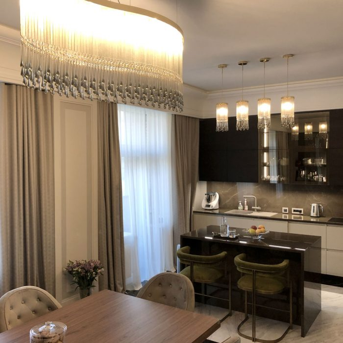 42 modern dining room sets: Design Chandeliers For Kitchen And Living Room In A Flat In Moscow