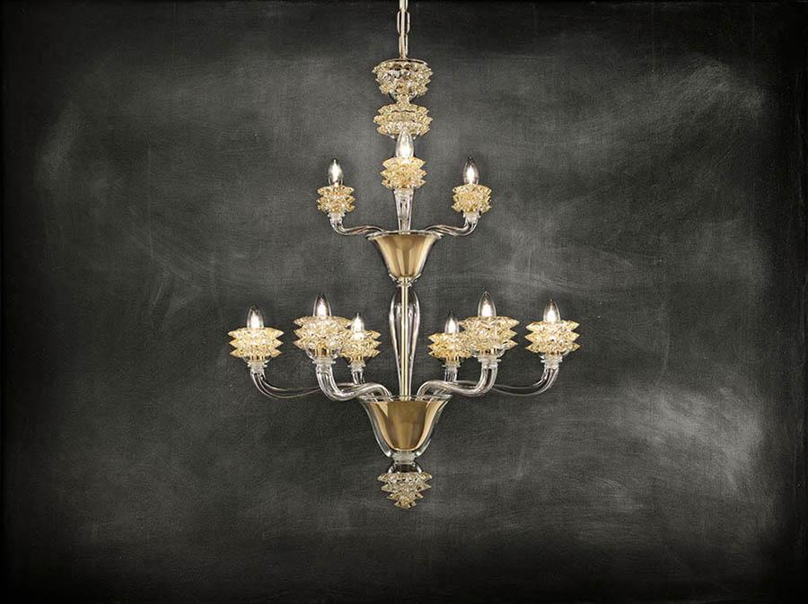 lampadario in vetro stile classico