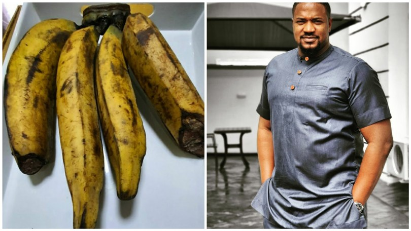 (PHOTO) Nollywood actor, Mofe Duncan in shock after buying a bunch of plantain for N6,000