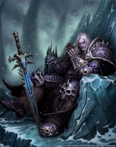 Arthas the Lich King with his sword, Frostmourne