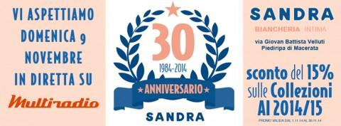 Multiradio Live da Sandra Intimo domenica pomeriggio 9 novembre per festeggiare i 30 anni di attività