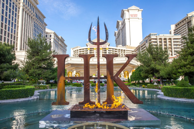 The series' signature pitchfork ignited in the iconic Caesars Palace fountains, heralding the arrival of Gordon Ramsay Hell's Kitchen restaurant
