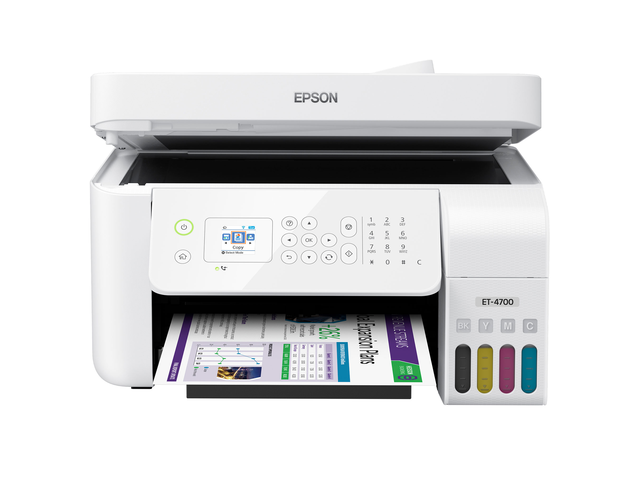 The Epson EcoTank ET-4700 All-in-One Supertank Printer offers wireless, cartridge-free printing, ADF and fax for the office.