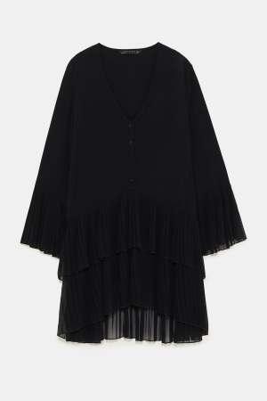 Black Pleated Blouse
