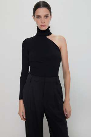 ASYMMETRIC HIGH NECK SWEATER