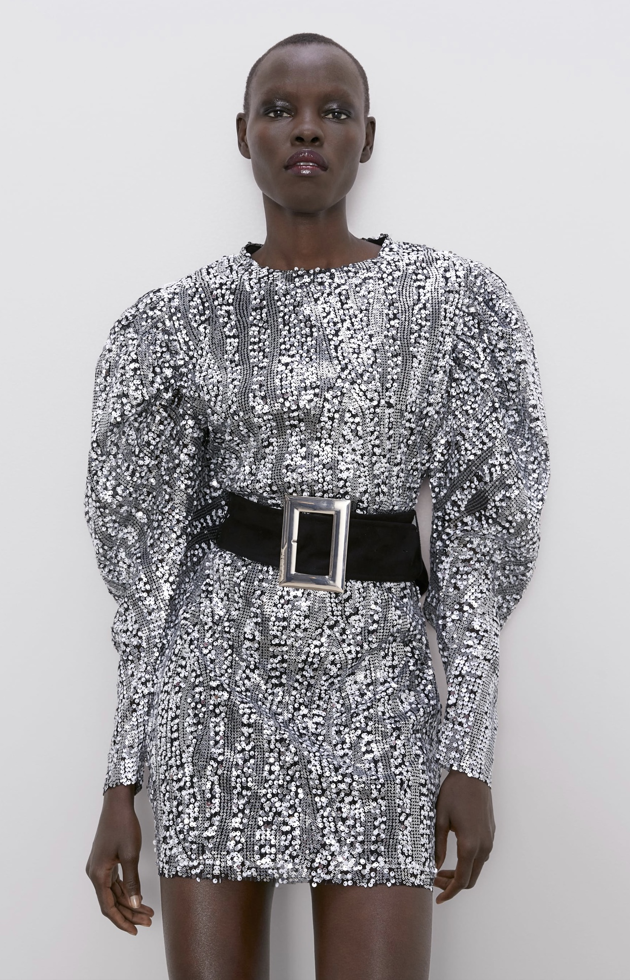 ZARA sequin dress with puff sleeves