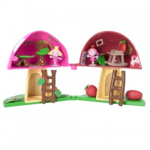 Magical Toadstool Playset open with Holly and Strawberry upstairs
