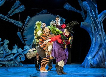 L-R-David-Garrud-Dog_Frog-Emma-MacLennan-Cat-Sam-Donovan-Bird_Dragon-and-Morag-Cross-Witch-in-Room-On-The-Broom-Lyric-Theatre-Shaftesbury-Avenue-Photo-Patrick-Baldwin