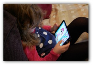 H playing the Everything's Rosie app