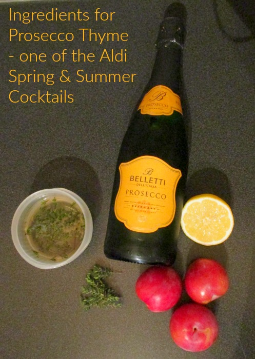 Ingredients for Aldi Spring and Summer Cocktails Prosecco Thyme