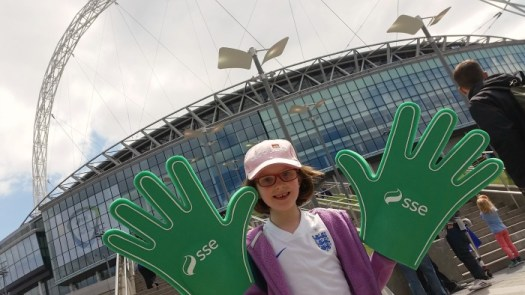 Wembley Stadium SSE giant sponge hands, football, Women's FA Cup Final 2015