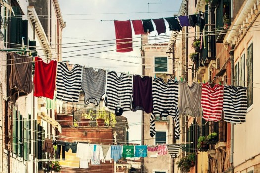 Striped shirts on a line bright future