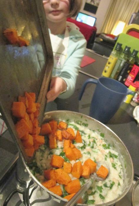 add butternut squash to butternut squash risotto