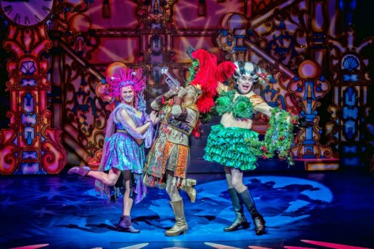 AJ Powell, Berwick Kaler and David Leonard in Cinderella at York Theatre Royal. Photo by Anthony Robling.