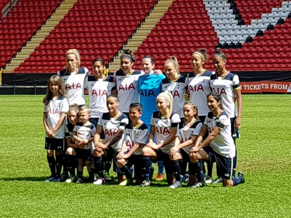 Tottenham women in their play off match vs Blackburn Rovers when they won and gained promotion to the Women's Championship.