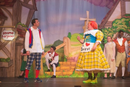 Jonny Awsum (Billy Trott) and Tim Hudson (Dame Trott) in Jack and the Beanstalk at Waddon Leisure Centre (photo James Spicer)