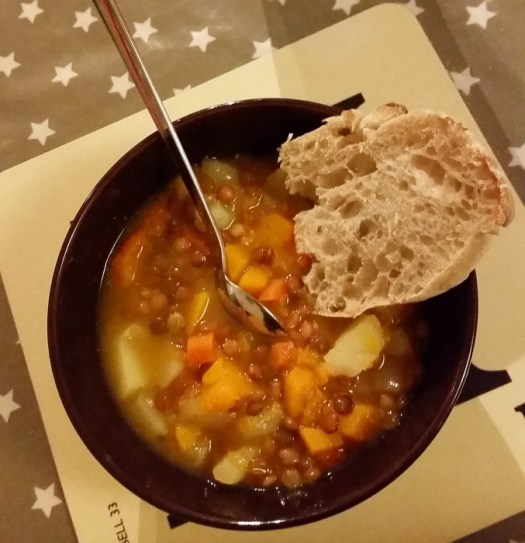 a hearty winter soup with ciabatta