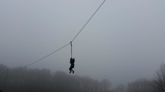 H on the zipwire at PGL Marchants Hill