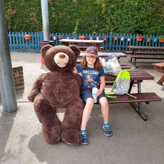 H and Hagrid the bear