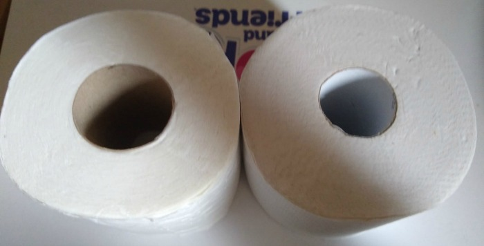 Who Gives a Crap vs Aldi side by side comparison of the toilet rolls